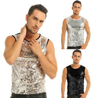 Mens Sequin Loose Vest Tank Top Sleeveless Blouse Cami T-shirt Dance Clubwear