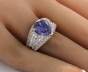 Blue Tanzanite & simulated round Diamond Ring in 18k Yellow Gold over 925