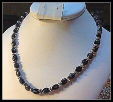 Black Tourmaline Necklace 24 inch Genuine Gems Tibetan Pewter Metal Beads