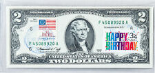 Paper Money US Uncirculated 2 Dollar Bill 1976 Bank Note Stamped Birthday Gifts