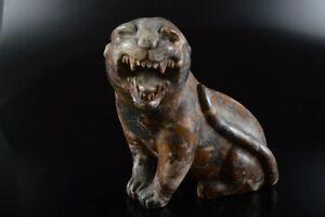 L7796: Japanese Stone TIGER STATUE sculpture Ornament FigurinesLucky charm