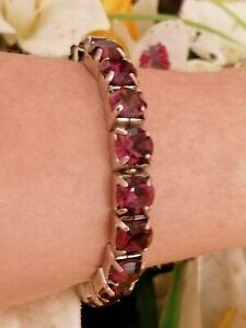 Amethyst Tennis bracelet Swarovski Purple Gemstone Jewelry white Gold plated Hmd