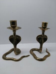 Pair of vintage Indian brass engraved Cobra candlesticks