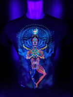 """Herren T-Shirt """"Mechanical Lotus"""" mit Druck UV aktiv Schwarzlicht Neon PSY"""