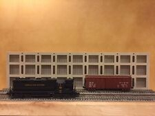 """O Scale 3-Story Concrete Warehouse Shadow Box 3-Piece 36"""" Long Text To Order"""