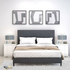 Double Faux Leather/Linen Bed Frame 3FT 4FT6 5ft , Foam/ Spring Mattress Choice