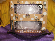 6 PC PURPLE AMETHYST GLASS BANANA SPLIT BOATS DISHES SERVING NEW IN BOX HEAVY