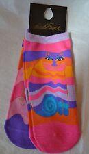 "Laurel Burch Cat Pattern Sport Socks ""RAINBOW CAT""  #1114-2 TWO PAIR!"