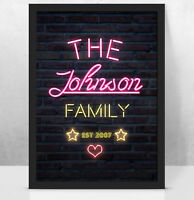 Personalised Custom NEON light art print, Perfect New family gift idea/couple