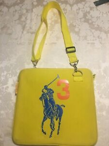 Ralph Lauren Laptop Bag Neoprene Big Pony Collection Polo Yellow Blue Pony 12x12