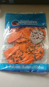 Sealed 6pk of orange Background With Black Bats  Halloween Latex Helium balloons