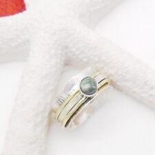 Seraphinit grün gold Design Bandring Ring Ø 17,75 mm, 925 Sterling Silber neu