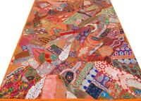 Handmade Quilt Orange Twin Patchwork Indian Vintage Patches Bed cover India O