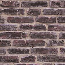 RED RUSTIC BRICK WALL WALLPAPER ROLLS - J34408 UGEPA GREY