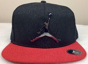 NEW JORDAN JUMPMAN ADJUSTABLE SNAPBACK HAT RED BLACK YOUTH SIZE 8/20 9A1623 KR5