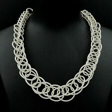 New Fashion Silver Plated Huge Circle Chain Bib Statement Necklace 05006