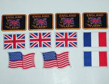 """CAR RACING FLAG USA FRANCE ENGLAND UK Assorted Sew On Iron On PATCH SET 3"""" New"""