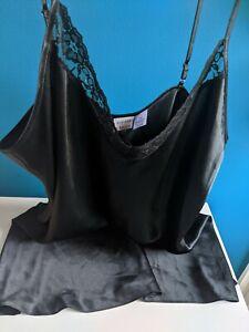 Vintage Gilligan & O'Malley XXL 2XL Black Liquid Satin Nightgown NWOT Babydoll