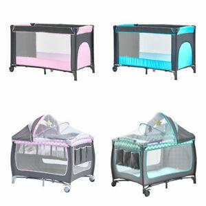 Folding Portable Baby Travel Cot Bed Kids Crib Playpen w/ Mattress Mosquito Net