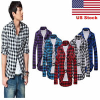 US Mens Plaid Flannel Lumberjack Tartan Check Shirt Brushed Cotton Casual Tops