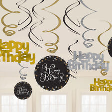 12 x Happy Birthday Hanging Swirls Black Silver Gold Birthday Party Decorations