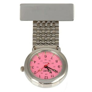 Censi Unisex Silver Plated Pink Dial Nurse Doctor FOB Watch Tunic Brooch