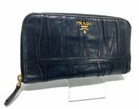Auth PRADA Nappa Leather Round Zippy Long Wallet Purse Black Italy Y1329