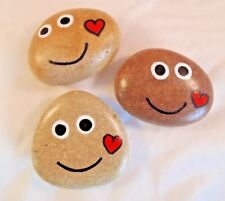 Hand painted rocks, stones, pebbles.Smiley pebbles with love heart fridge magnet