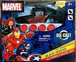 Marvel Jeep Wrangler Rubicon BLACK WIDOW 4x4 Rebels Model Kit! Die-Cast Metal!