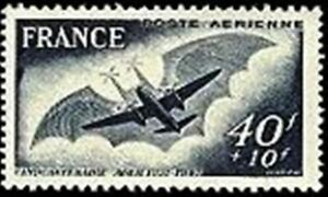"""FRANCE TIMBRE STAMP AERIENNE N° 23 """" AVION CLEMENT ADER 40F+10F"""" NEUF X TB"""