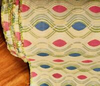 Atomic 16+yds Vintage Mid Century Upholstery Fabric Curtains Yellow Pink Blue