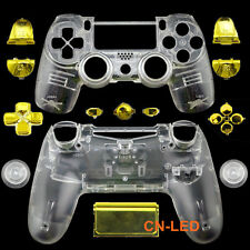 Transparent Clear Full Housing Shell + Chrome Gold buttons for PS4 G1 Controller