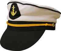 WHITE SAILOR CAPTAIN HAT/CAP NAUTICAL MARINE NAVY BOAT SHIP FANCY DRESS H07 074