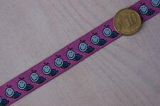 """Webband - """"Schnecke"""" - pink / Webband mit Schnecken auf Pink farben Untergrund"""