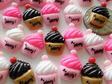 "100 Sweet 'n Cute Flatback Resin Embellishments - Happy Cup Cake Mix - 12mm/0.4"""