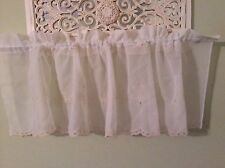 """Valance Sheers White With Beige Embroiderey Flower Polyester 60"""" W Country P2"""