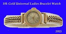 Nuovo di zecca VINTAGE 18k Gold Donna UNIVERSALE Swiss Deco Orologio da Polso Bracciale 1958