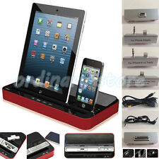 Dual Docking Station Charger Speaker For iPhone 5 6S Plus iPad 5 6 Air Mini 2 3