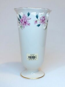 Lenox Barrington Collection Pink Flowers Vase Off White Gold 24 kt.Trim 8,5'inc