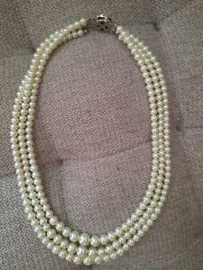 3 reihige Perlenkette 42 cm Verschluß