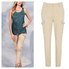 Kaleidoscope Sz 12 Cropped Utility TROUSERS Spring Summer Holiday £49 High Waist