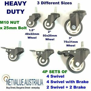 "4P sets Heavy Duty PU Castor Wheel trolley Caster M10 NUT BOLT Brake 1.5"" 2"" 3"""