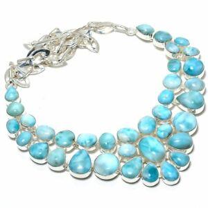 "Caribbean Larimar Gemstone Ethnic Fashion Jewelry Necklace 18"" MN-345"