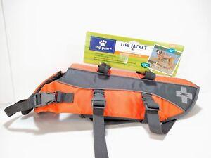 Top Paw Dog Life Jacket Reflective Size M 30-55 lbs Orange Neoprene Adjustable