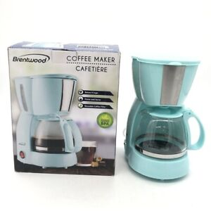 Brentwood 4 Cup Coffee Maker Machine Tempered Glass Carafe Reusable Filter Blue