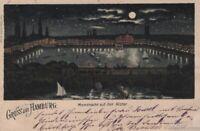 AK Gruss aus Hamburg. Mondnacht auf der Alster. Litho ca. 1898: Postkarte