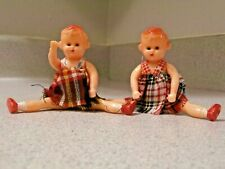 2 Vintage 1950�s 4 Inch Hard Plastic Jointed Baby Dolls, Poseable, blinking eyes