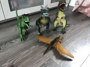 4 Large Plastic Dinosaur Figures Toys - Some Noisy!
