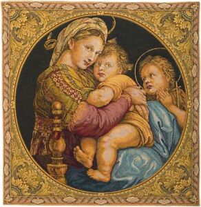 MADONNA DELLA SEGGIOLA 66CM X 61CM BELGIAN TAPESTRY WALL HANGING WITH ROD SLEEVE