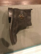 TORY BURCH ALAINA ANKLE BOOTS BOOTIES Smoke Grey SUEDE 8.5 $350
